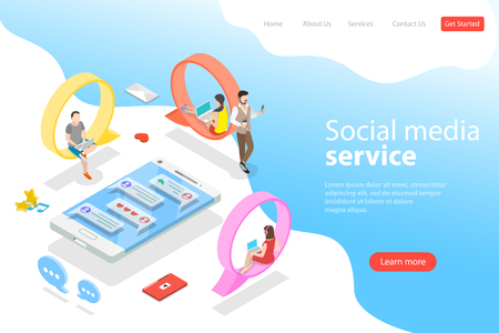 Flat isometric vector landing page template of social media, instant messenger.