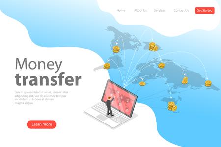 Isometrische flache Vektor-Landing-Page-Vorlage für Finanztransaktionen, Geldtransfer, Online-Banking, mobile Brieftasche.