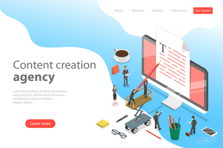 Flat isometric vector landing page template of content creating, copywriting.