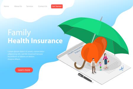 Plantilla de página de destino de vector plano isométrico de póliza de seguro de salud. Ilustración de vector