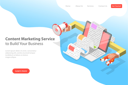 Isometric flat vector landing page template of content strategy campaign, digital content promotion.