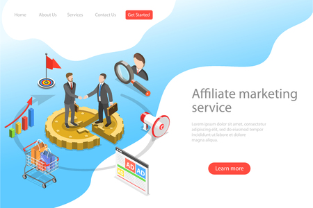Flat isometric vector landing page template of affiliate marketing. Çizim