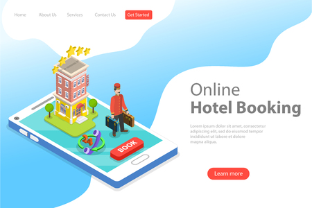 Flat isometric vector landing page template of booking hotel online.