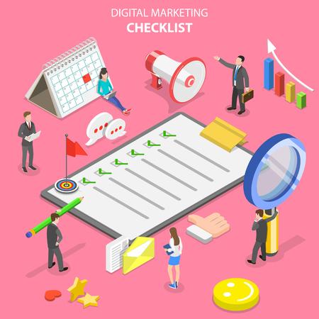 Isometric flat vector concept of marketing checklist, digital marketing.