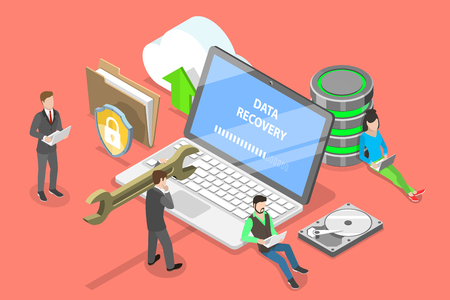 Isometric flat vector concept of data recovery services, data backup and protection, hardware repair.