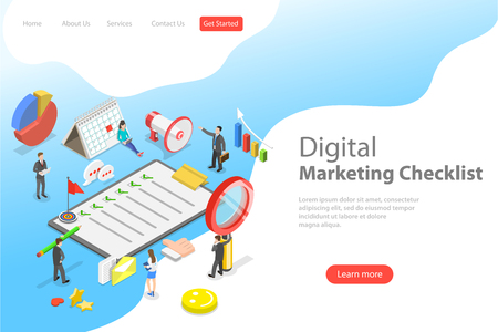 Isometric flat vector landing page template of marketing checklist. Иллюстрация