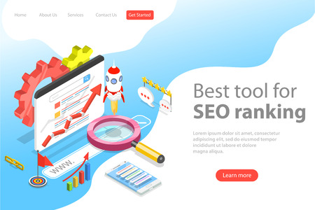 Flat isometric vector landing page template of seo ranking tool, web analytics, website optimization marketing.