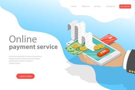 Plantilla de página de destino de vector plano isométrico del servicio de pago en línea. Ilustración de vector