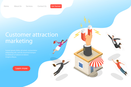 Flat isometric vector landing page template for client attracting, customer retention strategy, support and satisfaction.