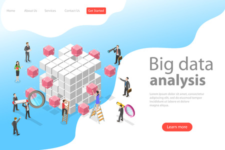 Flat isometric vector concept of advanced analytics, database research. Illustration