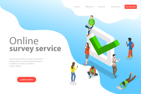 Flat isometric vector landing page template of online survey service.
