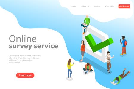 Modello di pagina di destinazione di vettore isometrico piatto del servizio di sondaggio online.