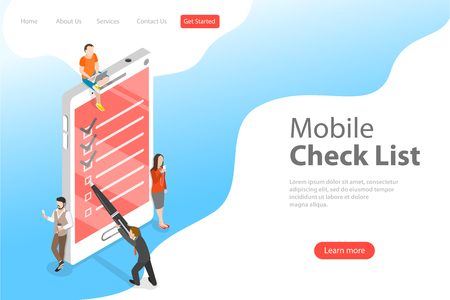 Isometric flat vector concept of mobile checklist, task successful completion.