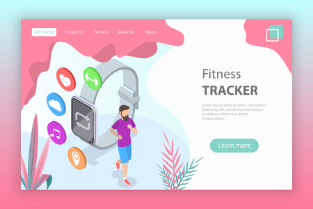 Isometric flat vector landing page template of fitness tracker, smart watch, sport and healthy lifestyle.