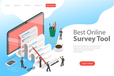 Plantilla de página de destino de vector plano isométrico de herramienta de encuesta en línea, revisión del cliente, servicio de comentarios, satisfacción del cliente.