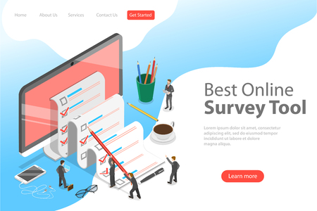 Flat isometric vector landing page template of online survey tool, customer review, feedback service, customer satisfaction.