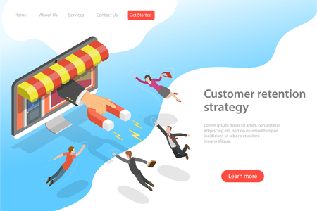 Flat isometric vector landing page template for customer retention strategy, client attracting, support and satisfaction.