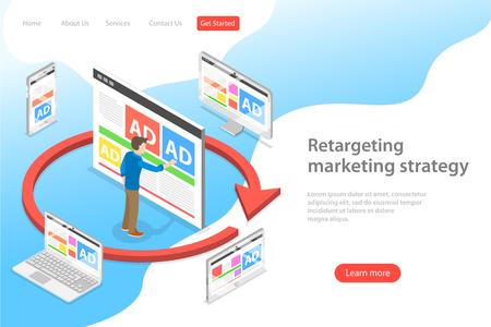 Izometryczny szablon strony docelowej płaskiego wektora retargetingu strategii marketingowej, remarketingu behawioralnego, cyfrowej kampanii promocyjnej.
