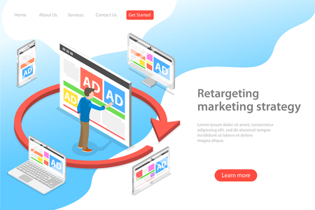Isometric flat vector landing page template of retargeting marketing stragety, behavioural remarketing, digital promotion campaign.