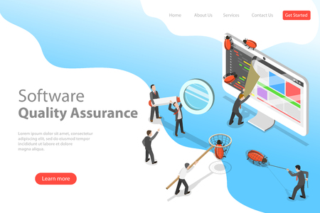 Isometric flat vector landing page template of software quality assurance.