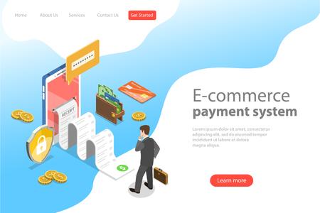 Plantilla de página de destino de vector plano isométrico del sistema de pago de comercio electrónico.