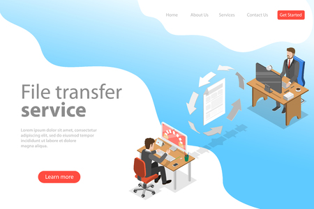 Isometric flat vector landing page template of file transfer service, social network, information exchange, data backup.
