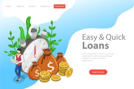 Plantilla de página de destino de vector plano isométrico de préstamo rápido, efectivo fácil, servicios financieros, el tiempo es dinero. Ilustración de vector