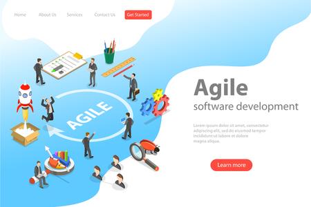 Página de inicio de vector plano isométrico de desarrollo de software ágil, metodología de diseño de productos.