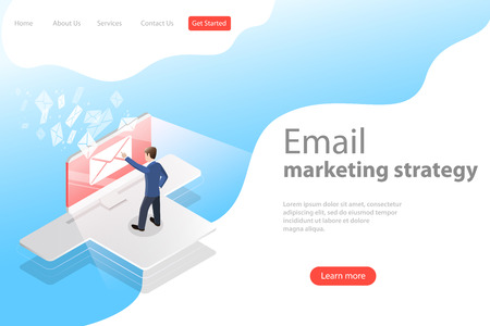 Isometric vector landing page template for e-mail marketing, product promoting.  イラスト・ベクター素材