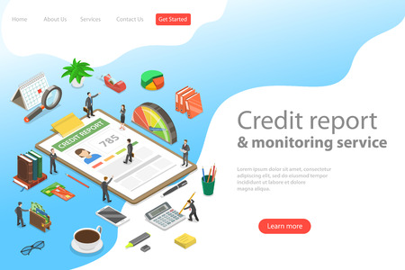 Flat isometric vector landing page template of personal credit score information, financial rating.