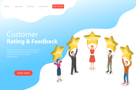Isometric flat vector landing page template of product rating.