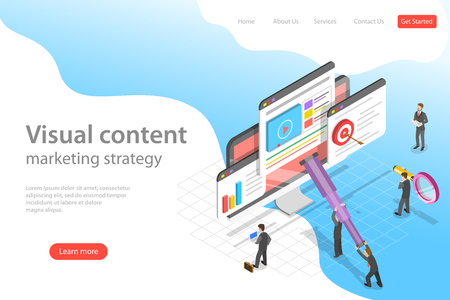Isometric flat vector landing page template of visual data marketing strategy, data driven campaign, analyzing statistics. Illustration