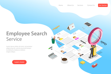 Isometric flat vector landing page template of employee search service, headhunting, recruitment, HR manager review. Vektorové ilustrace