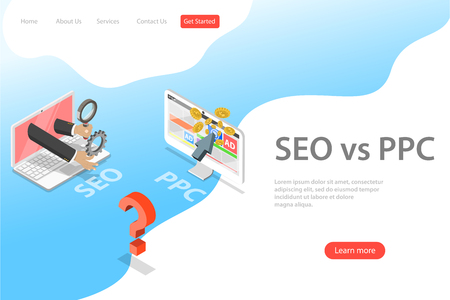 Isometric flat vector landing page template of SEO vs PPC. Illustration