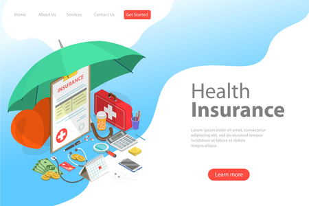 Isometric flat vector landing page template of health insurance policy. Illustration