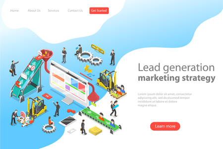 Isometric flat vector concept of lead generation strategy. Marketing process of conversion rate optimization and generating business leads. Иллюстрация