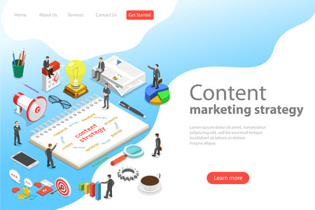 Isometric flat vector landing page template of content marketing strategy. Illustration