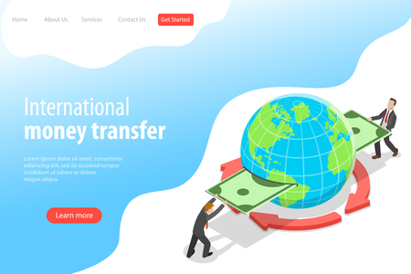 Isometric flat vector landing page template of international money transfer, online banking, financial transaction, web store, mobile shopping. Illustration