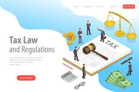 Plantilla de página de destino de vector plano isométrico de leyes y regulaciones fiscales. Ilustración de vector