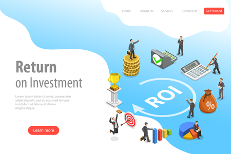 Flat isometric vector landing page template of return on investment, roi, digital marketing, marketing analysis, profit.