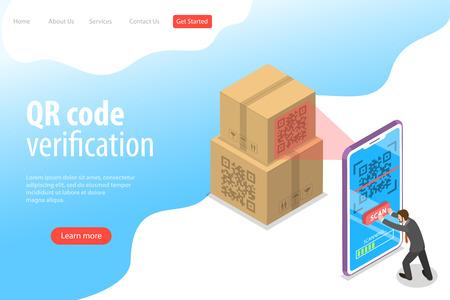 Modello di pagina di destinazione vettoriale piatto isometrico di codice QR, scansione di codici a barre, app di verifica.