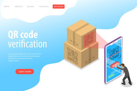 Isometric flat vector landing page template of QR code, barcode scanning, verification app.