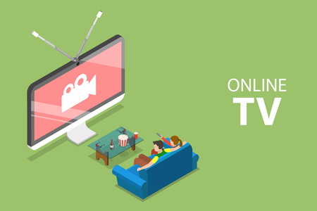Isometric flat vector concept of smart TV, home entertainment, movie online.