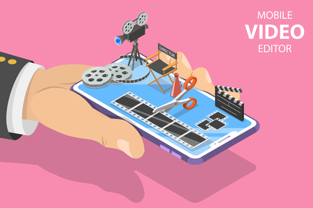 Isometric flat vector concept of video editing app, multimedia production. 스톡 콘텐츠 - 118978823