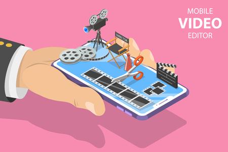 Isometrische platte vector concept van videobewerking app, multimedia productie.