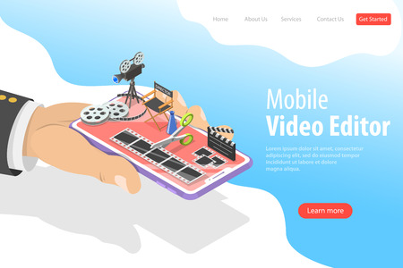 Isometric flat vector landing page template of video editing app.
