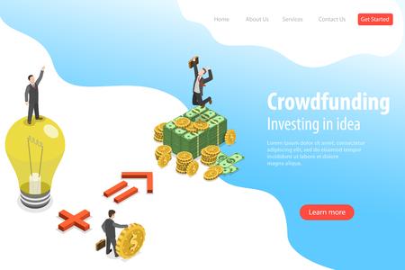 Modèle de page de destination de vecteur plat isométrique de financement participatif, investissant dans l'idée. Vecteurs