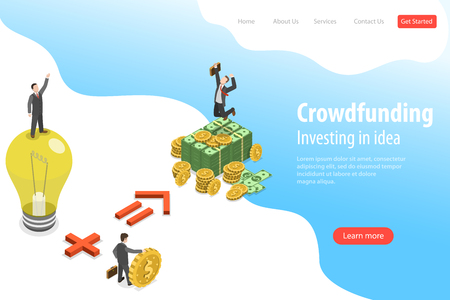 Isometric flat vector landing page template of crowdfunding, investing in idea.