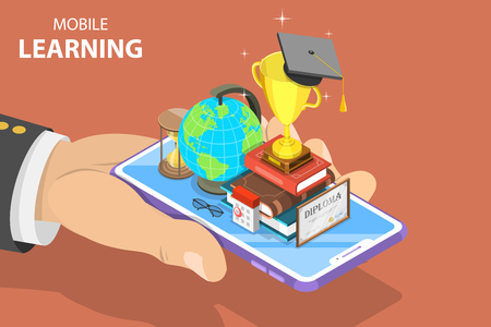 Flat isometric vector concept of mobile education, e-learning, webinar, online training.
