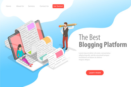Isometric vector landing page for creative blogging, commercial blog posting. Stock Vector - 118978835